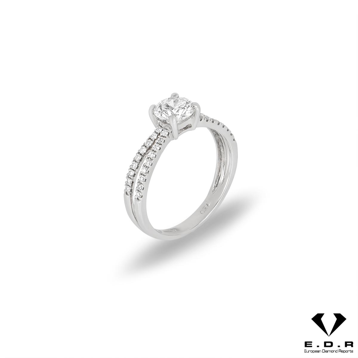 18k White Gold Round Brilliant Cut Diamond Ring 0.76ct E/VS1